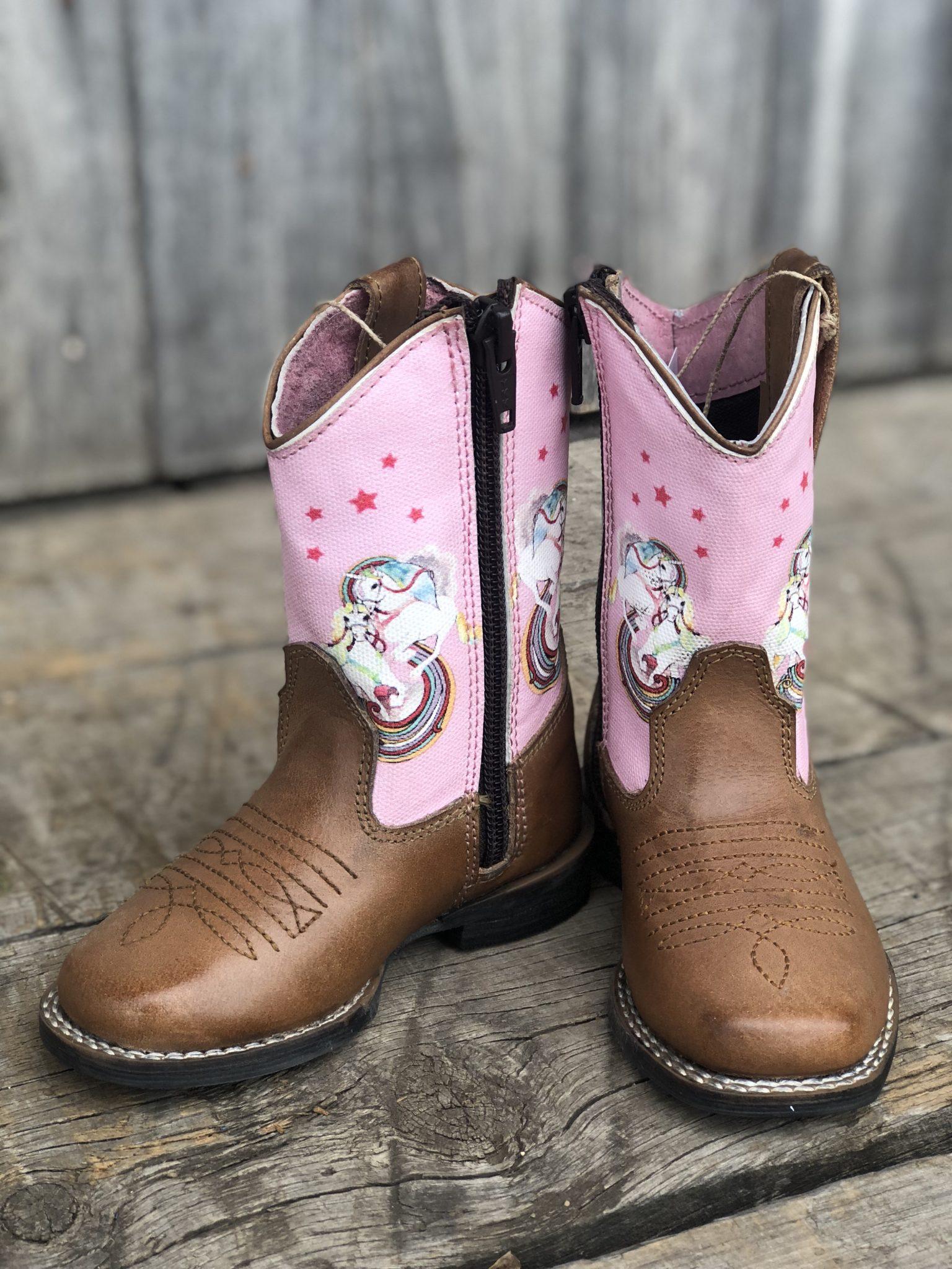 Roper Toddlers Adara Tan/Pink Boots