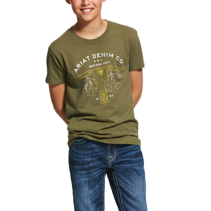 Ariat Boys Western Grit Tee Military